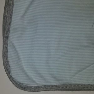 Carter's Cotton Baby Blanket Blue Stripe Gray Trim